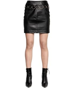 Jeremy Scott | Nappa Leather Skirt With Ring Trim