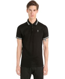 Neil Barrett | Printed Bolt Cotton Pique Polo Shirt