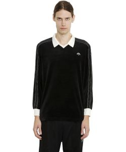 ADIDAS ORIGINALS BY ALEXANDER WANG | Embroidered Logo Velour L/S Polo