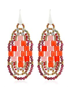 Ziio | Pixel Red Beaded Earrings