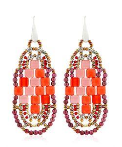 Ziio | Pixel Red Beaded Earrings
