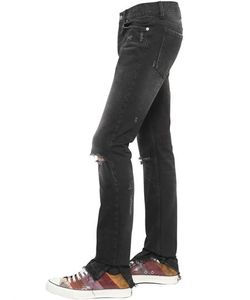 Roberto Cavalli   18cm Distressed Cotton Denim Jeans