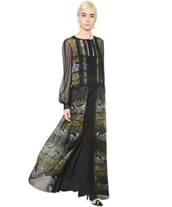 Alberta Ferretti | Deco Flowers Print Lace Chiffon Dress
