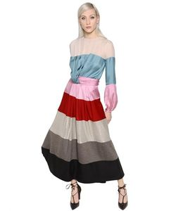 Blumarine | Stripe Satin Chiffon Jersey Lamé Dress