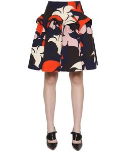 Delpozo | Flared Floral Printed Cotton Crepe Skirt