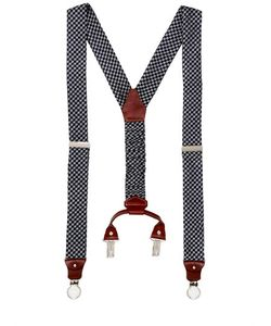 Cor Sine Labe Doli | Houndstooth Printed Silk Suspenders