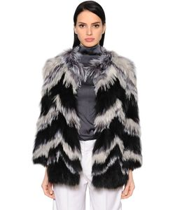Yves Salomon | Chevron Fox Fur Jacket