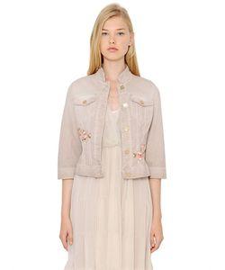 Blugirl | Embroidered Stretch Cotton Denim Jacket