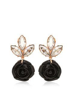 Mawi | Black Rose Crystal Drop Earrings