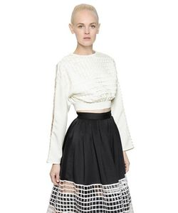 Natargeorgiou | Cropped Neoprene Cotton Net Sweatshirt