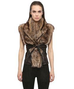 Rick Owens | Kangaroo Leather Fisher Fur Wrap