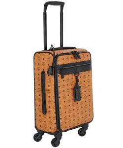 MCM | Logo Faux Leather Wheeled Suitcase