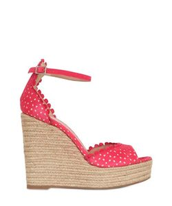 Tabitha Simmons | 130mm Lace Effect Leather Wedge Sandals