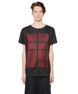 Letasca   Nylon Patches On Cotton Jersey T-Shirt