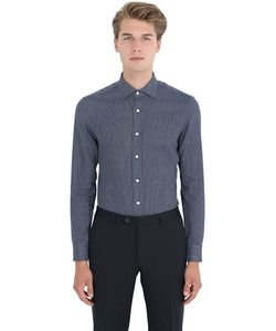 Salvatore Piccolo   Slim Fit Cotton Denim Jacquard Shirt