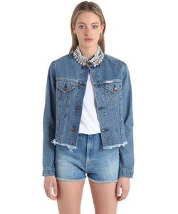 Forte Couture | Embellished Frayed Cotton Denim Jacket