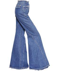 Esteban Cortazar   High Waist Fla Cotton Denim Jeans