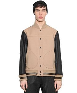 08Sircus | Leather Double Wool Bomber Jacket