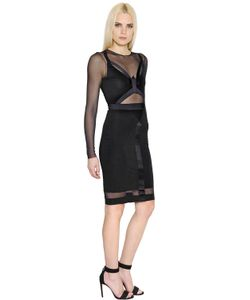Alexandre Vauthier | Fitted Jersey Sheer Tulle Dress