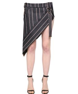 Anthony Vaccarello | Striped Asymmetrical Denim Mini Skirt