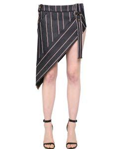 Anthony Vaccarello   Striped Asymmetrical Denim Mini Skirt