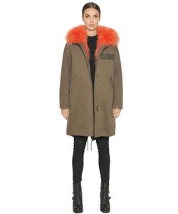 ARMY FUR | Cotton Canvas Parka With Fox Fur Lining
