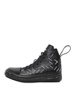 Artselab   Stitch Slit Leather High Top Sneakers