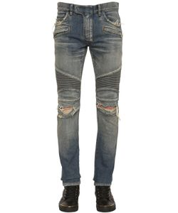 Balmain   16.5cm Biker Faded Stretch Denim Jeans
