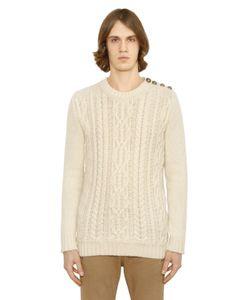 Balmain   Mohair Blend Cable Knit Sweater
