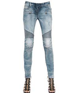 Balmain | Destroyed Washed Denim Biker Jeans