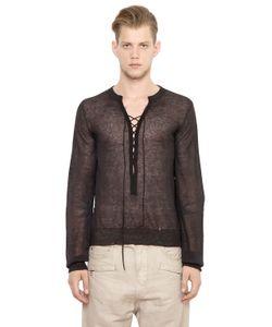 Balmain   Lace-Up Light Linen Viscose Sweater