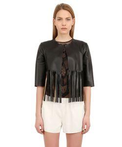 Blancha | Fringed Laminated Nappa Leather Jacket