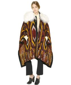 Chloé | Faux Shearling Wool Tapestry Cape