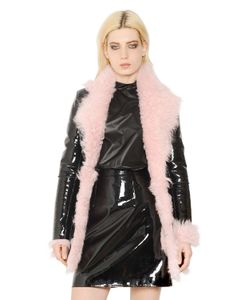 Christopher Kane | Patent Leather And Shearling Fur Coat