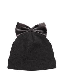 Federica Moretti | Ribbed Wool Hat With Velvet Bow