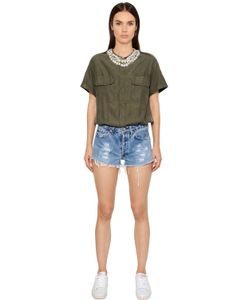 Forte Couture | Cotton Denim Embellished Romper