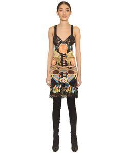 Givenchy | Geometric Print Silk Satin Lace Dress