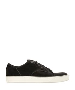 Lanvin   Velvet Rubberized Leather Sneakers