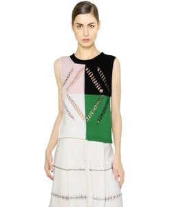 Marco de Vincenzo | Embellished Sleeveless Cotton Sweater