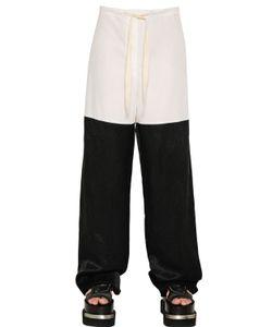 Mm6 Maison Margiela   Cotton Poplin Draped Viscose Pants