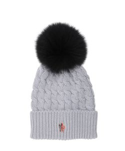 Moncler Grenoble | Wool Cable Knit Hat W/ Fox Fur Pom Pom