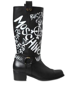 Moschino | 40mm Printed Leather Boots