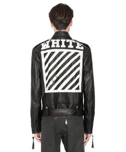 Off-White | Stripes Print Nappa Leather Biker Jacket