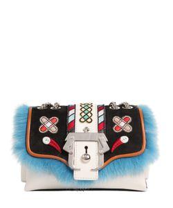 Paula Cademartori   Kate Leather Bag W/ Embroidery Fur