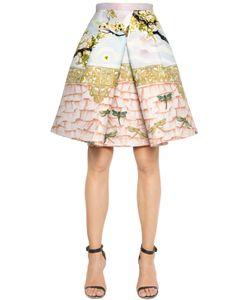 Piccione.Piccione | Birds Print Pleated Shantung Skirt