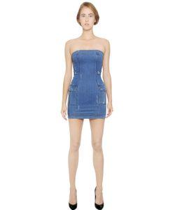 Pierre Balmain | Strapless Stretch Cotton Denim Dress