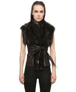 RICK OWENS HUN | Kangaroo Leather Fisher Fur Wrap