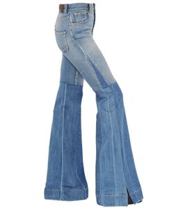 Roberto Cavalli   Flared Two Tone Stretch Denim Jeans