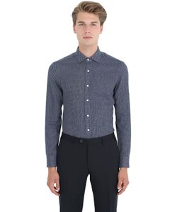 Salvatore Piccolo | Slim Fit Cotton Denim Jacquard Shirt