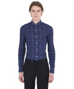 Salvatore Piccolo | Slim Fit Checked Linen Denim Shirt